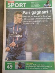 Poitevin et Beckham en Une du courrier de l'Ouest.