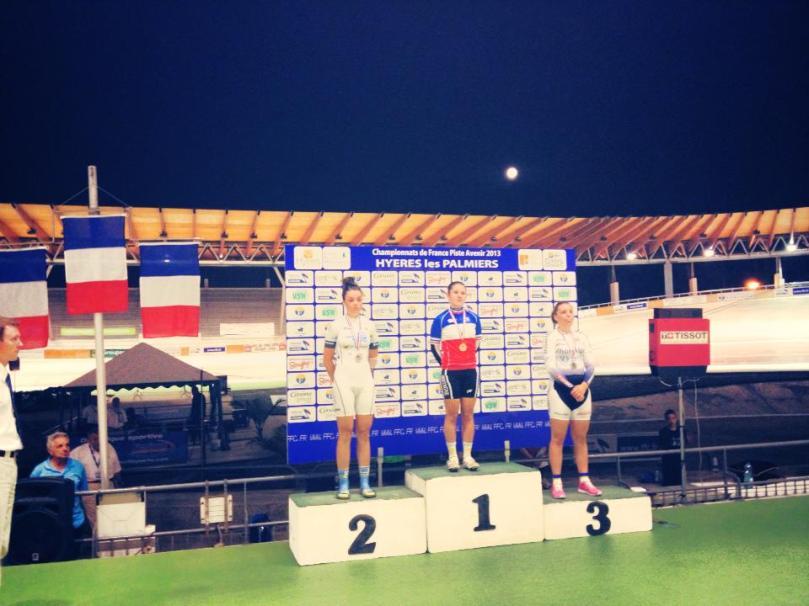 Le podium de la Course Aux Points Elite Dames