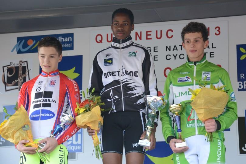 Podium des cadets à Quelneuc : Tanguy Turgis, Mickaël Crispin et Thomas Bonnet