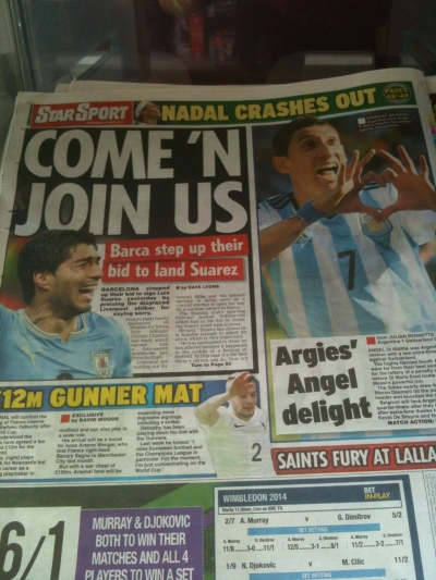 La Une de la presse anglaise après la qualification argentine, la veille