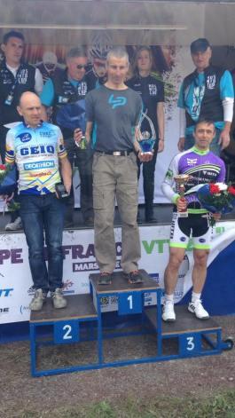 Le podium des Masters 50 : Jean-Paul Stephan 1er Roger Gentil 2e Frédéric Garcia 3e